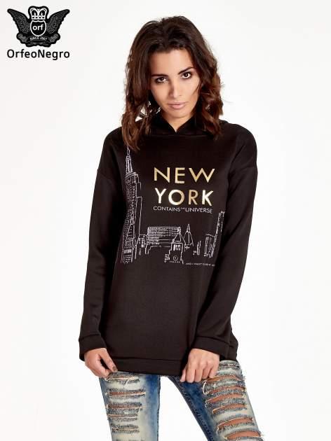Czarna bluza z nadrukiem NEW YORK                                  zdj.                                  1