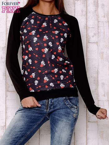 Czarna bluza z nadrukiem pand                                  zdj.                                  1