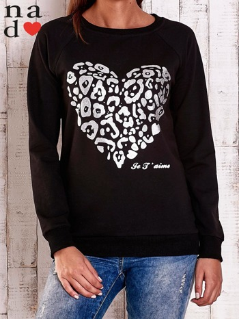 Czarna bluza z nadrukiem serca i napisem JE T'AIME                                   zdj.                                  1