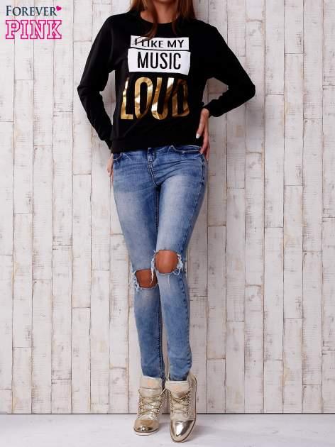Czarna bluza z napisem I LIKE MY MUSIC LOUD                                  zdj.                                  2