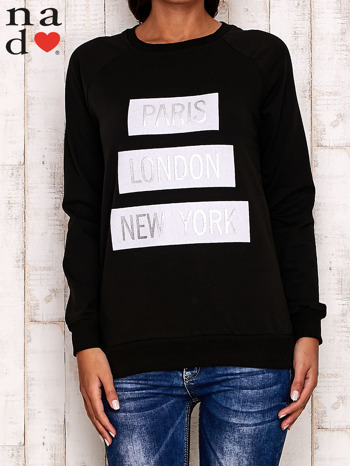 Czarna bluza z napisem PARIS LONDON NEW YORK                                  zdj.                                  1