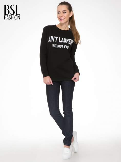 Czarna bluza z narukiem AIN'T LAURENT WITHOUT YVES                                  zdj.                                  2