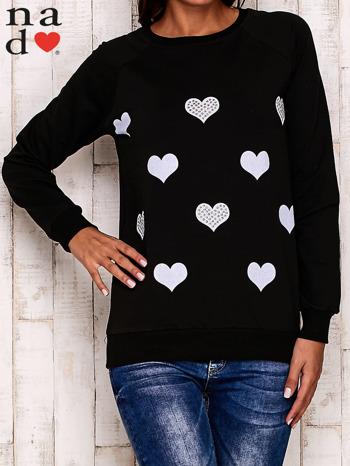 Czarna bluza z serduszkami