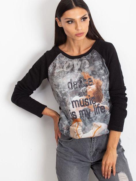 Czarna bluza z tanecznym nadrukiem                              zdj.                              5