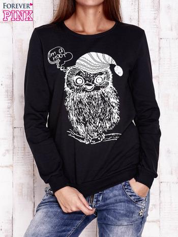 Czarna bluza ze zwierzęcym nadrukiem                                  zdj.                                  1