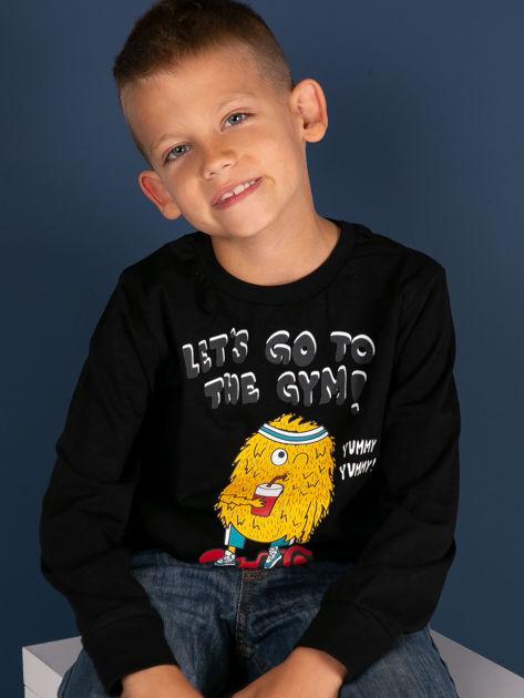 Czarna bluzka dla chłopca z bawełny                              zdj.                              1