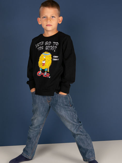 Czarna bluzka dla chłopca z bawełny                              zdj.                              2
