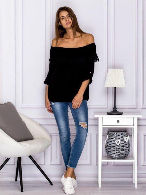 Czarna bluzka hiszpanka z koronkową lamówką                                  zdj.                                  4