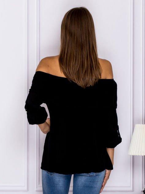 Czarna bluzka hiszpanka z podwijanymi rękawami                              zdj.                              2