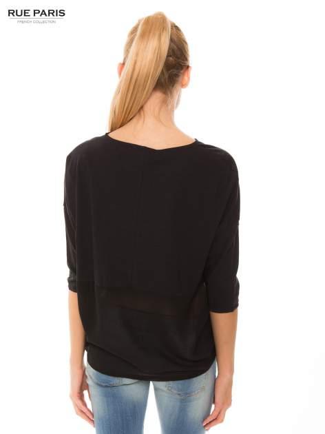 Czarna bluzka oversize z siateczkowym dołem                                  zdj.                                  3