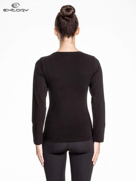 Czarna bluzka sportowa z dekoltem V                                  zdj.                                  4