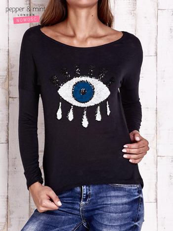 Czarna bluzka z cekinowym okiem                                  zdj.                                  1