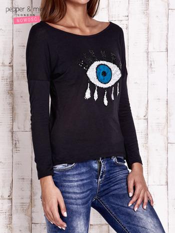 Czarna bluzka z cekinowym okiem                                  zdj.                                  3