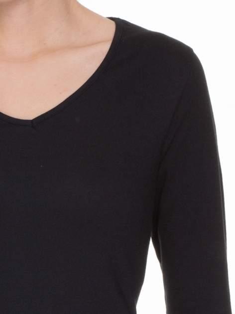 Czarna bluzka z długim rękawem z bawełny                                  zdj.                                  5
