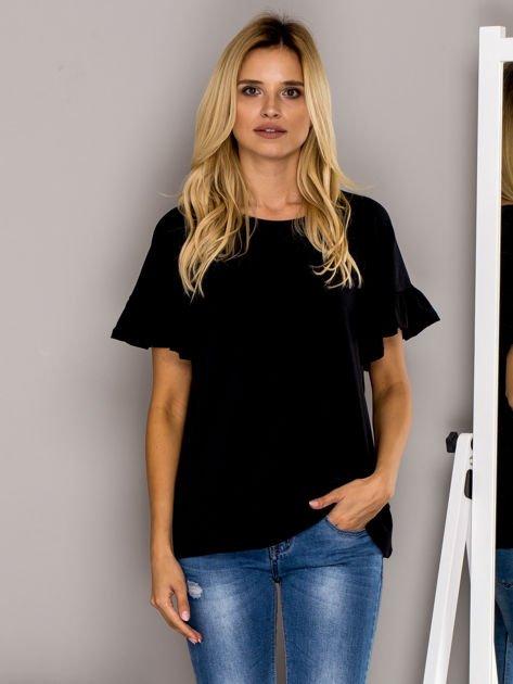 Czarna bluzka z falbanami na rękawach                              zdj.                              1