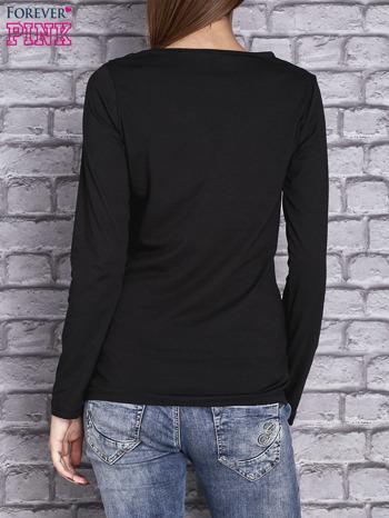 Czarna bluzka z koronkową wstawką                                  zdj.                                  4