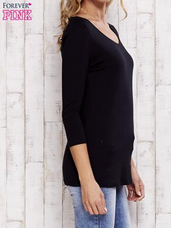 Czarna bluzka z koronkową wstawką na plecach                                  zdj.                                  3