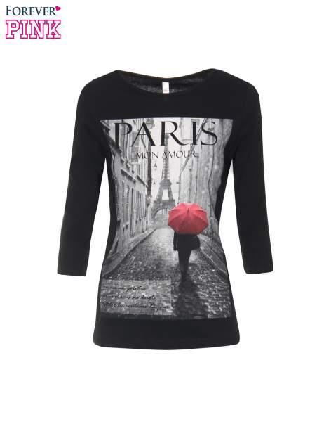 Czarna bluzka z motywem Paryża                                  zdj.                                  2