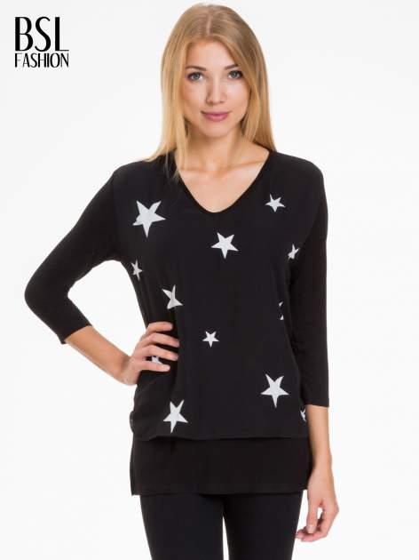 Czarna bluzka z nadrukiem białych gwiazdek                                  zdj.                                  1