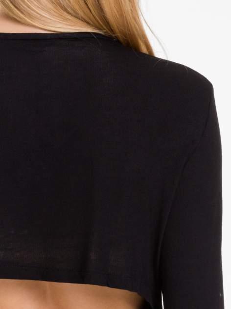 Czarna bluzka z nadrukiem bordowych gwiazdek                                  zdj.                                  8