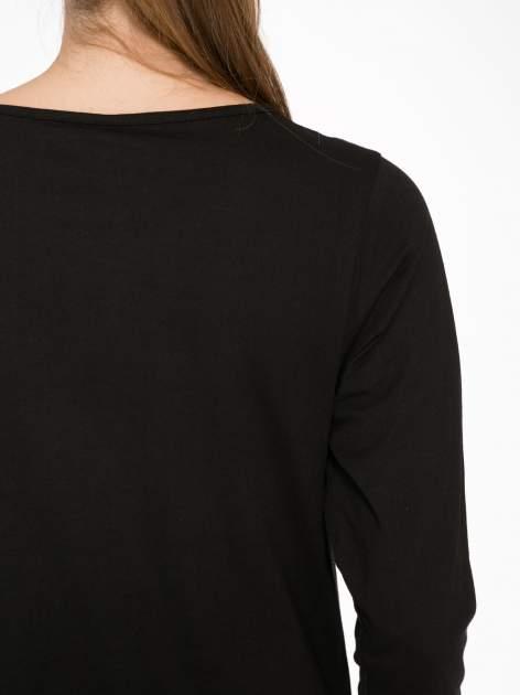 Czarna bluzka z nadrukiem kotka i napisem JUST WANNA HAVE FUN?                                  zdj.                                  8