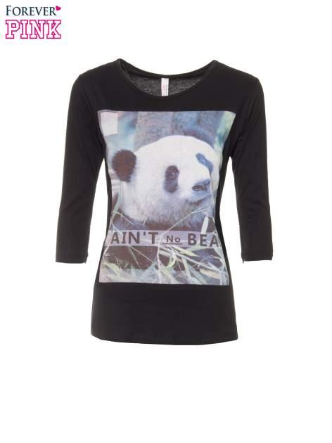 Czarna bluzka z nadrukiem pandy                                  zdj.                                  5