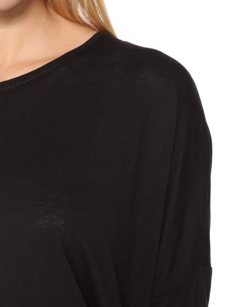 Czarna bluzka z panterkowym modułem i obniżaną linią ramion                                  zdj.                                  6