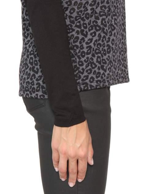 Czarna bluzka z panterkowym modułem i obniżaną linią ramion                                  zdj.                                  10