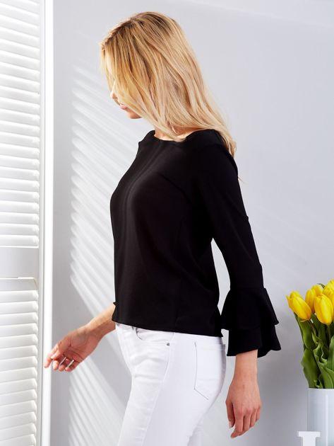 Czarna bluzka z rozszerzanymi rękawami                              zdj.                              5