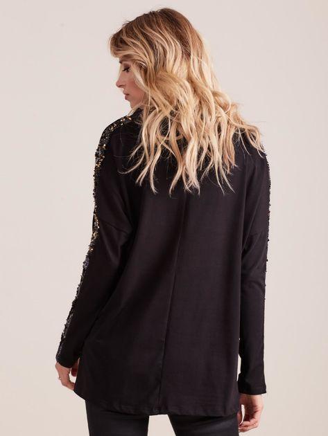 Czarna bluzka z wiązaniem i cekinami                              zdj.                              2