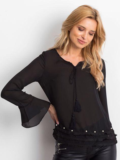 Czarna bluzka z wiązaniem i perełkami                                   zdj.                                  3
