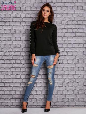 Czarna bluzka z wiązaniem na rękawach                                  zdj.                                  2