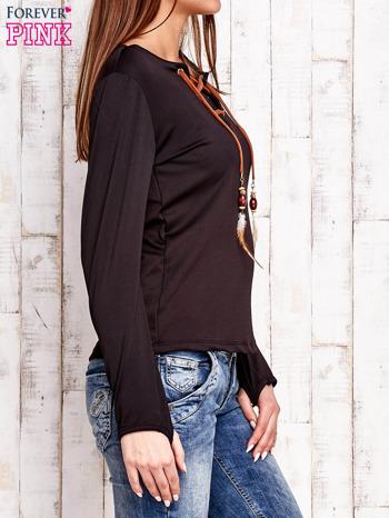 Czarna bluzka z wiązaniem w stylu boho                                  zdj.                                  3