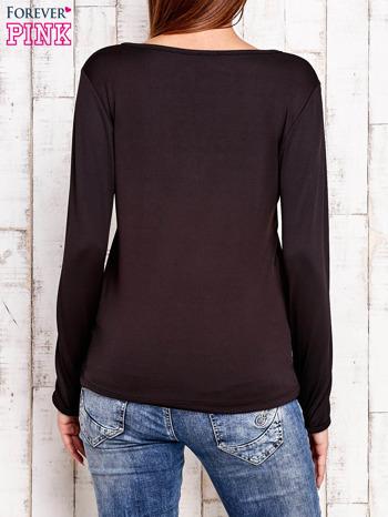 Czarna bluzka z wiązaniem w stylu boho                                  zdj.                                  4