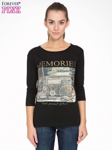 Czarna bluzka z złotym brokatowym napisem MEMORIES