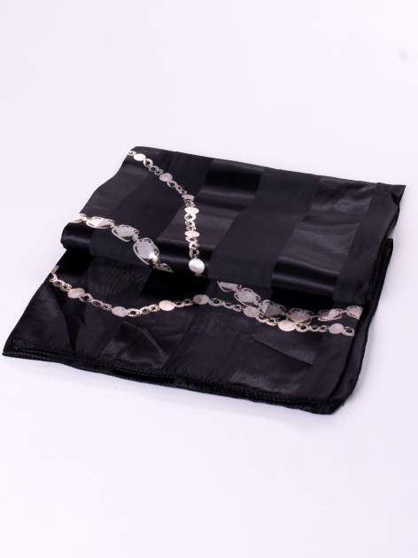 Czarna chusta apaszka z nadrukiem biżuteryjnym                                  zdj.                                  3
