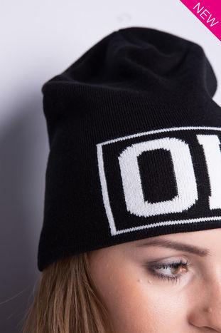 Czarna czapka beanie z napisem OH                                  zdj.                                  2