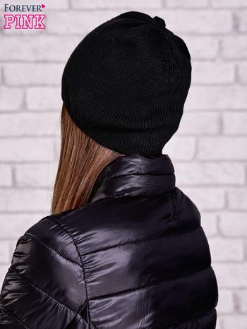 Czarna czapka beanie z uśmiechem                                  zdj.                                  2