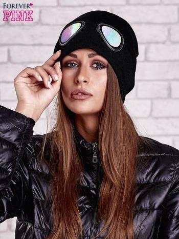 Czarna czapka z nadrukiem okularów aviator                                  zdj.                                  1