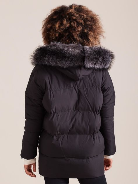 Czarna damska kurtka zimowa                              zdj.                              2