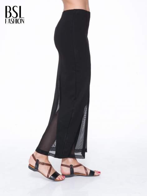 Czarna długa spódnica maxi z tiulowymi wstawkami na dole                                  zdj.                                  3