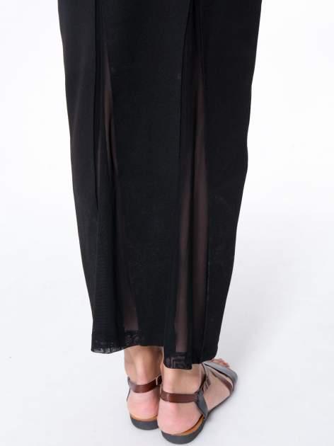 Czarna długa spódnica maxi z tiulowymi wstawkami na dole                                  zdj.                                  7