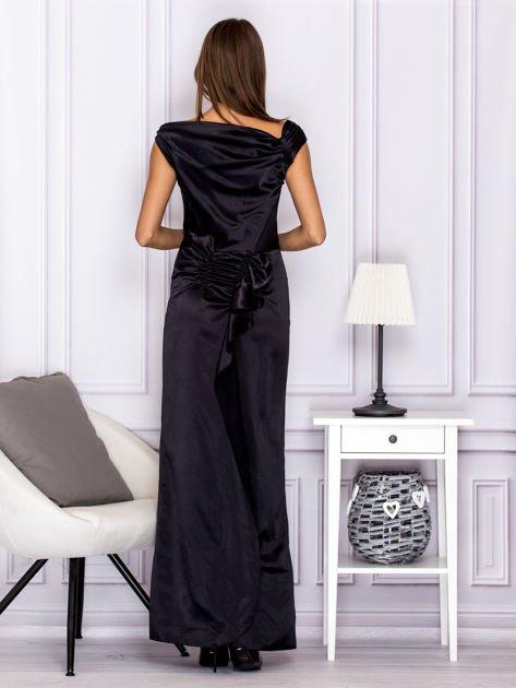 Czarna długa sukienka z falbaną                                  zdj.                                  2
