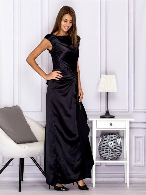Czarna długa sukienka z falbaną                                  zdj.                                  3