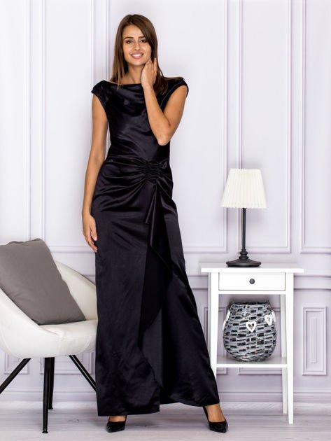 Czarna długa sukienka z falbaną                              zdj.                              4