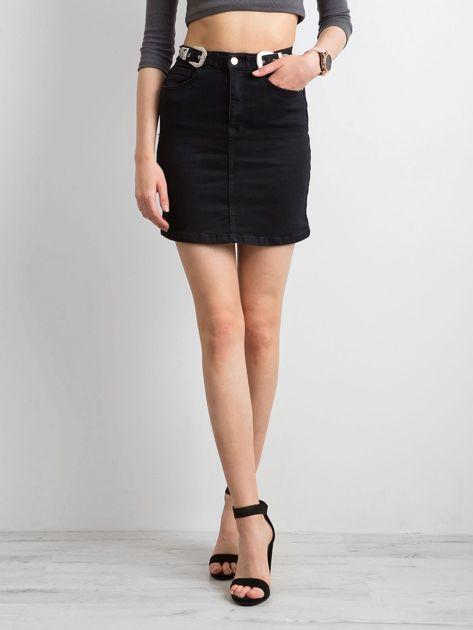 Czarna dopasowana spódnica z denimu                              zdj.                              5