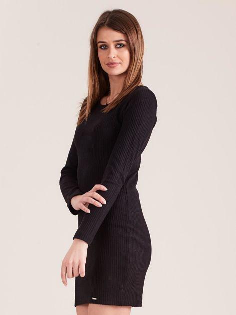 Czarna dopasowana sukienka w prążki z ozdobnym tyłem                              zdj.                              3