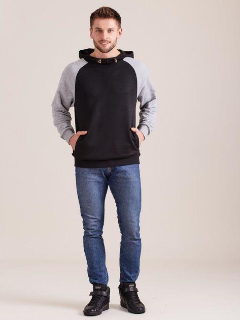Czarna dresowa bluza męska z kapturem                              zdj.                              4