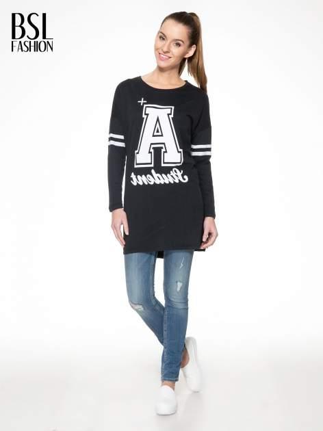 Czarna dresowa bluza z literą A w stylu baseballowym                                  zdj.                                  1
