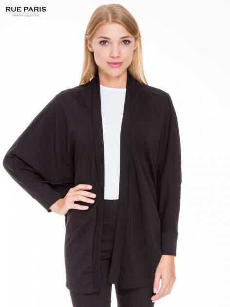 Czarna dresowa otwarta bluza z nietoperzowymi rękawami                                  zdj.                                  1